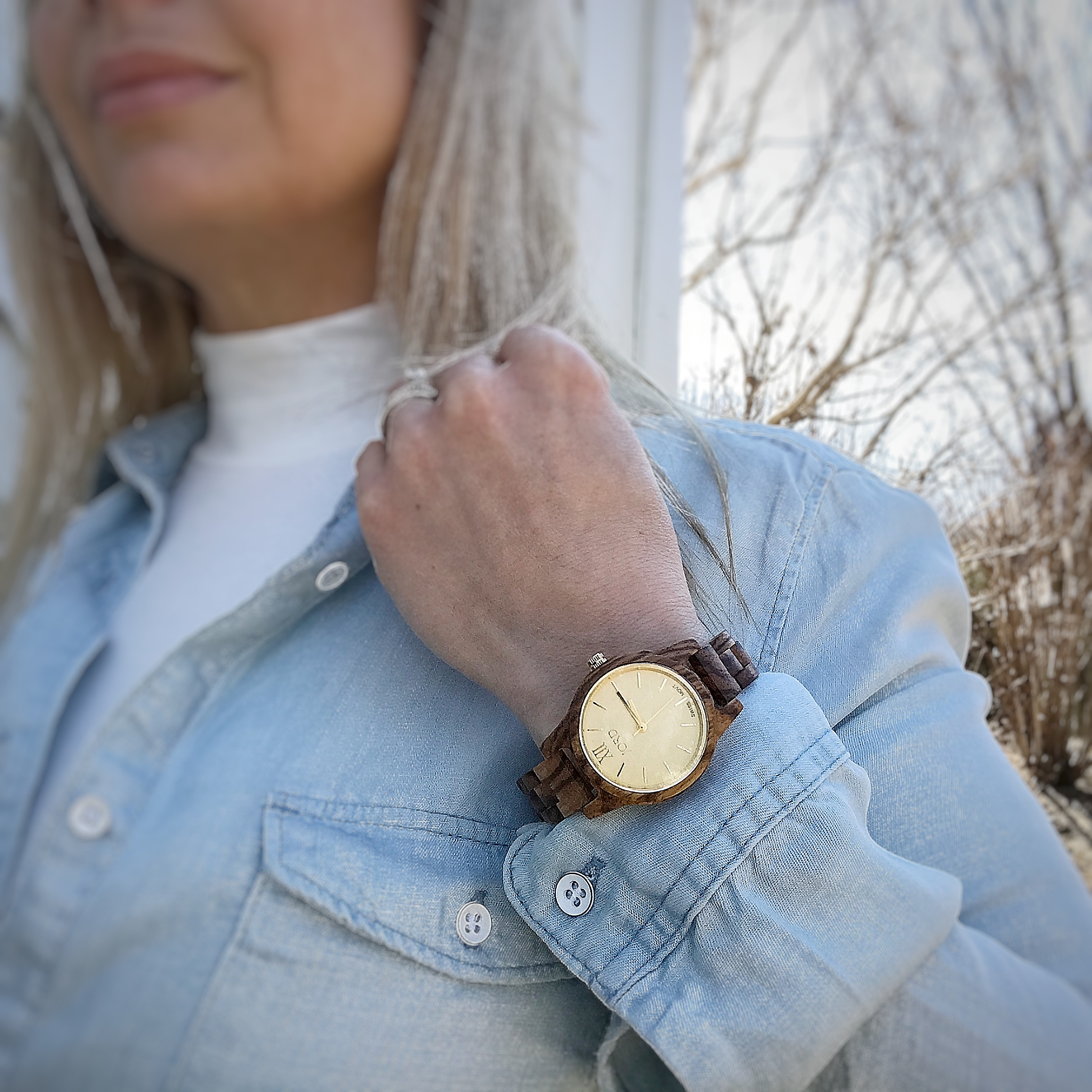 Zebra Wood Champagne Women's Watch