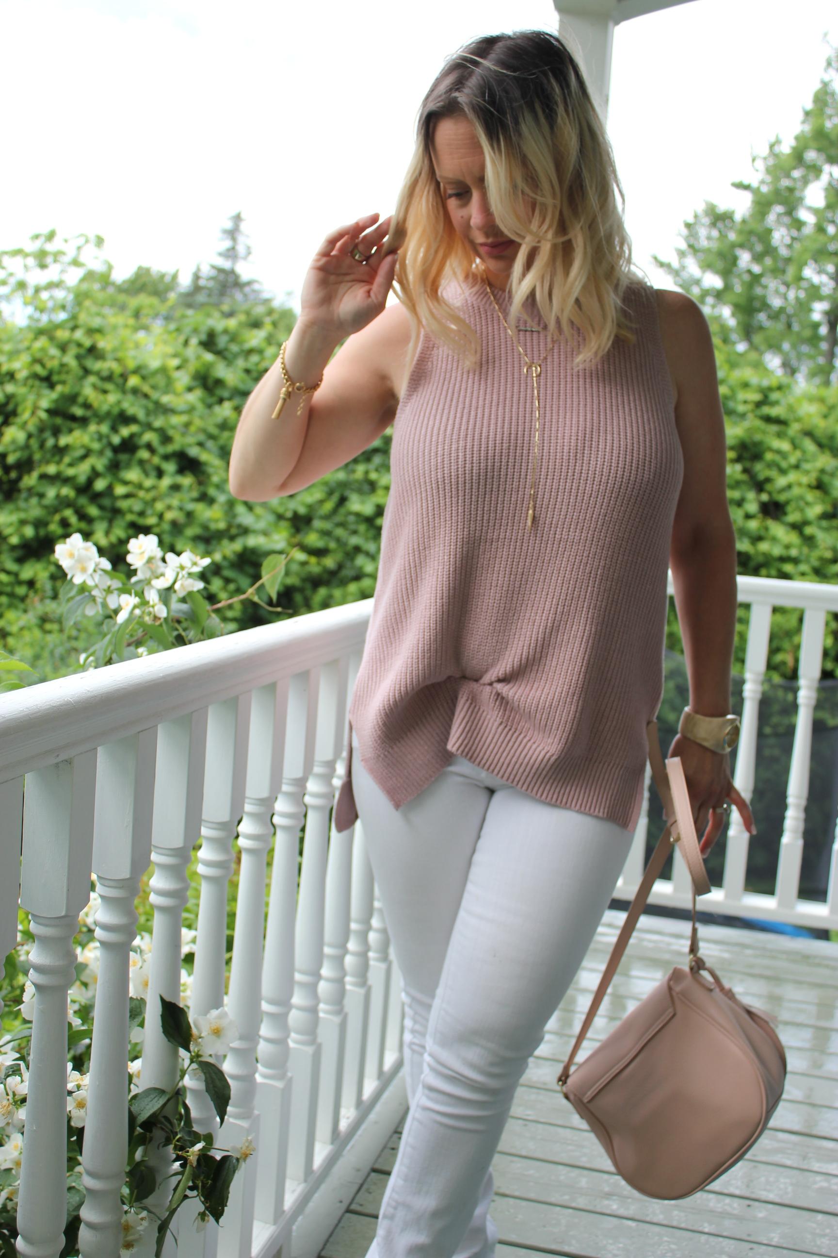 pink knit tank