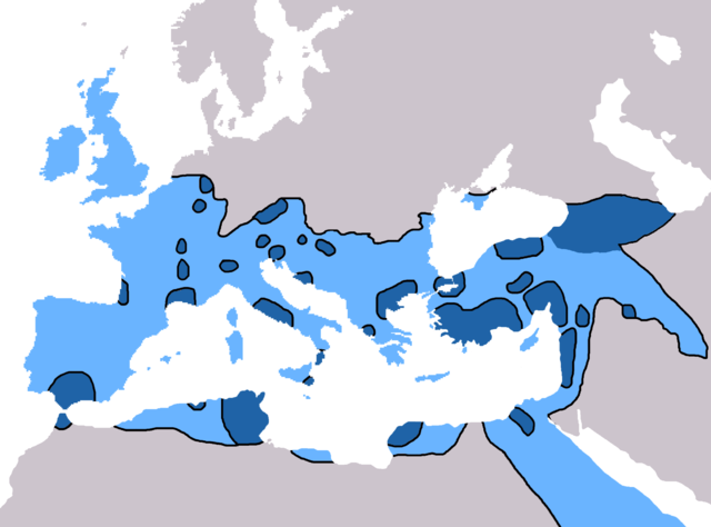 The extent of Christendom by 600 AD. Dark blue indicates Christian majorities by the year 325 AD