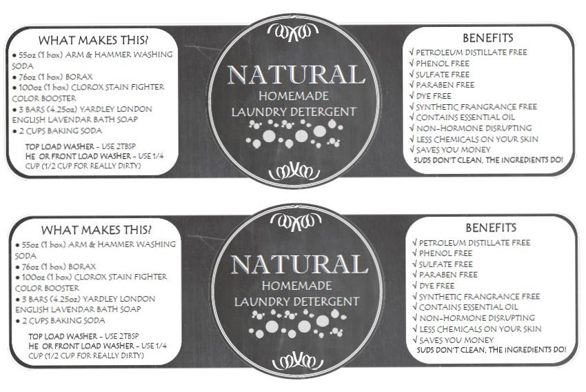 32oz Mason Jar Homemade Laundry Detergent Label Printable
