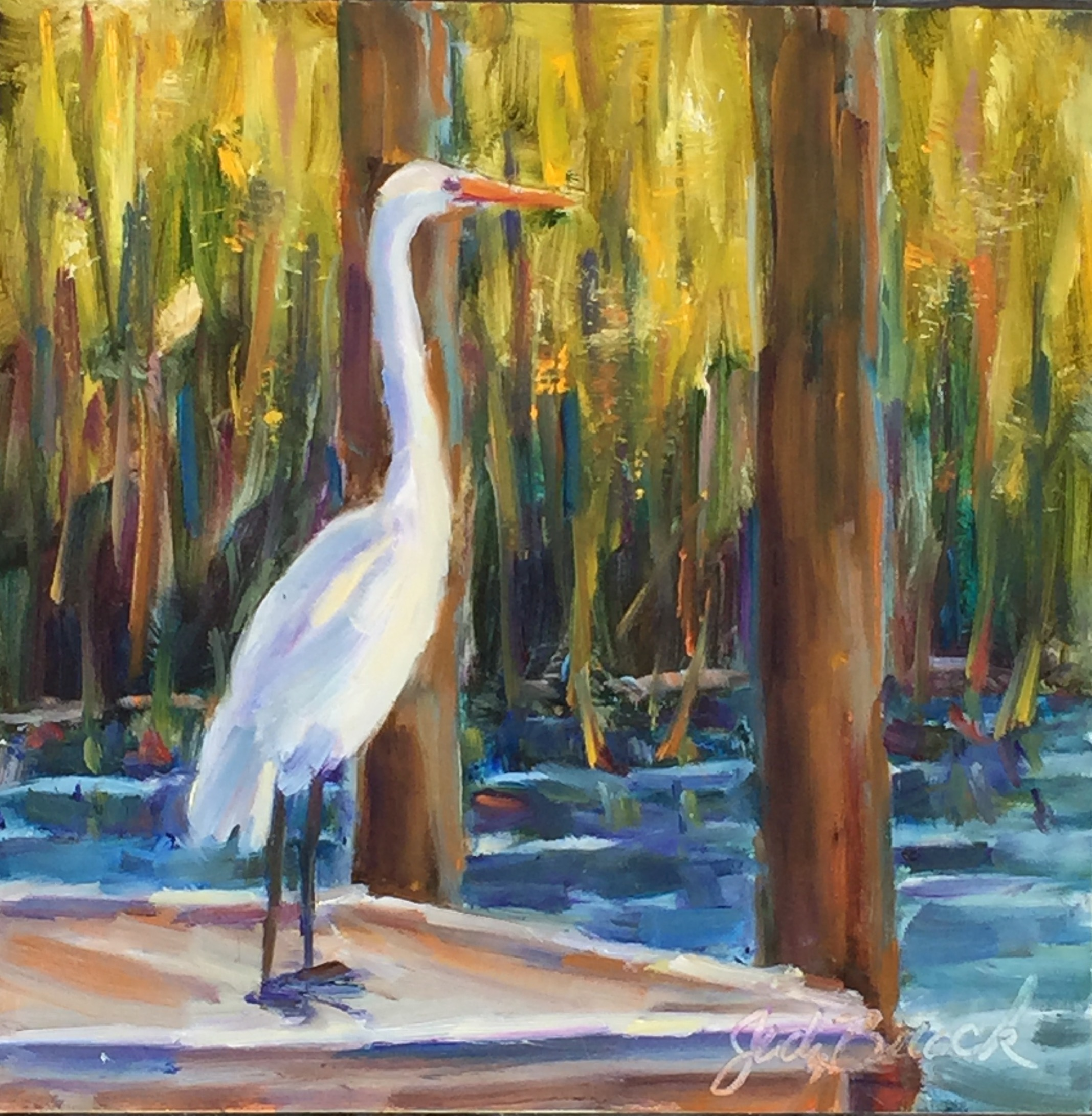 Egret on the Dock