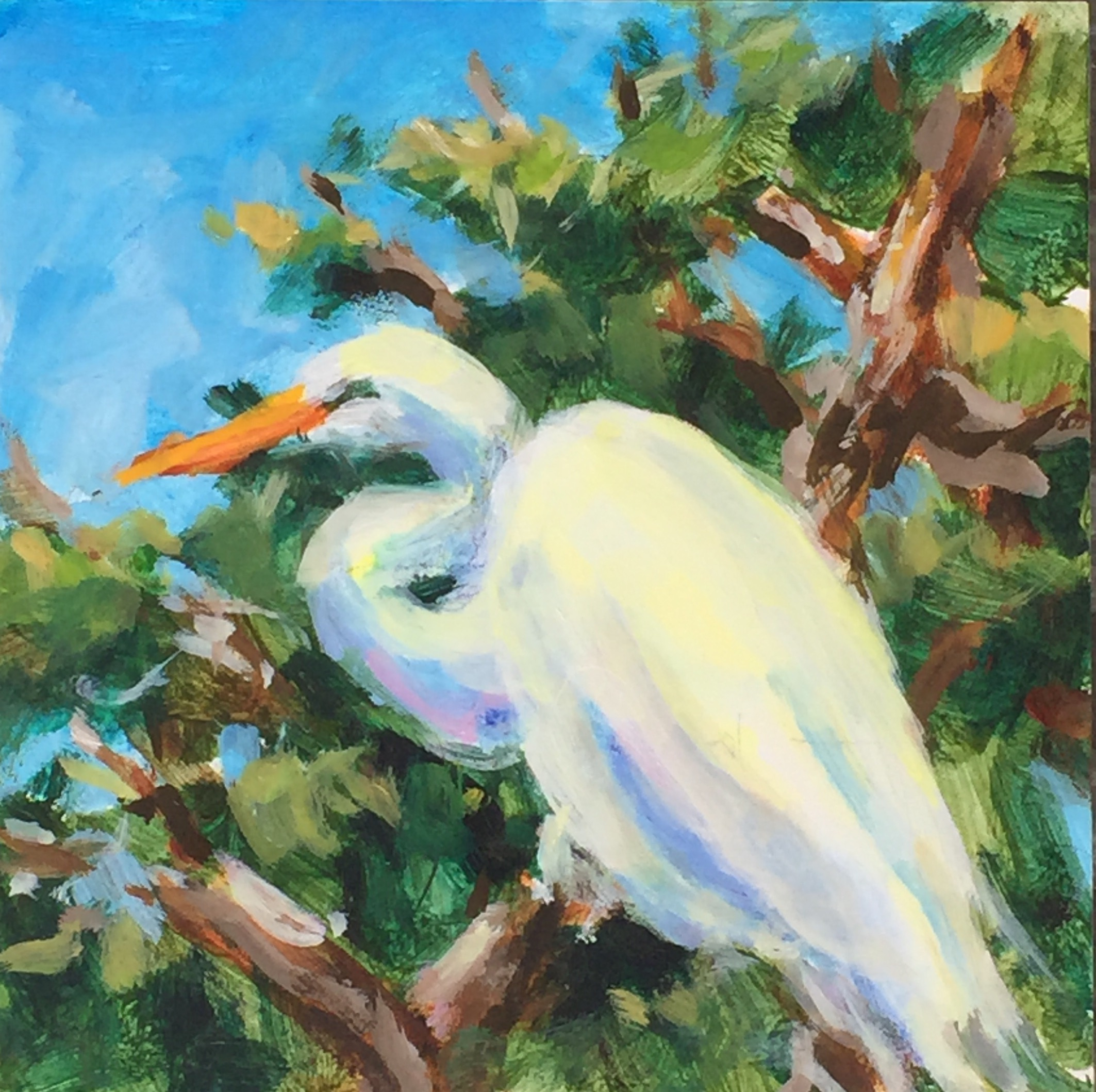 Egret with Blue Sky
