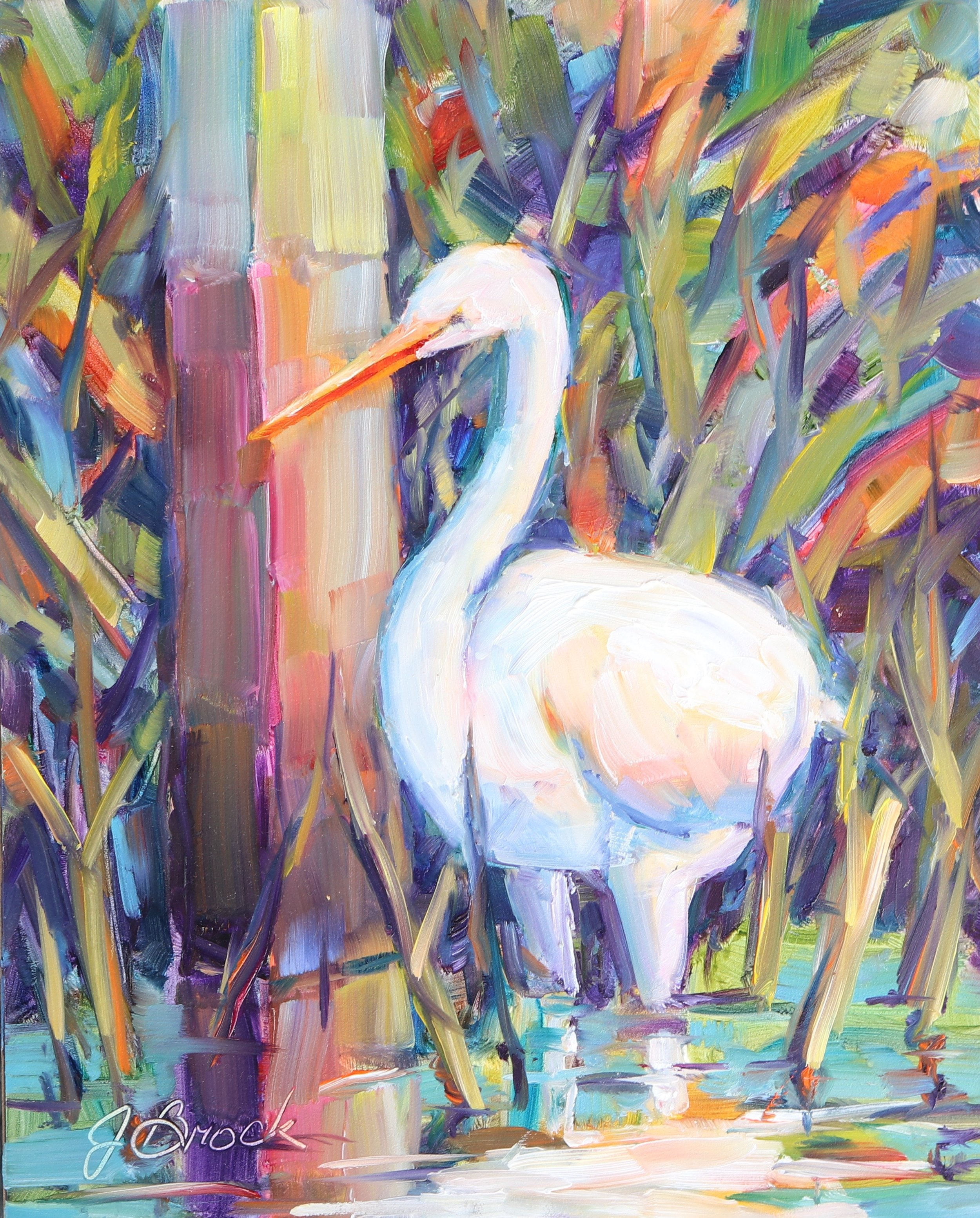 Egret by the Post
