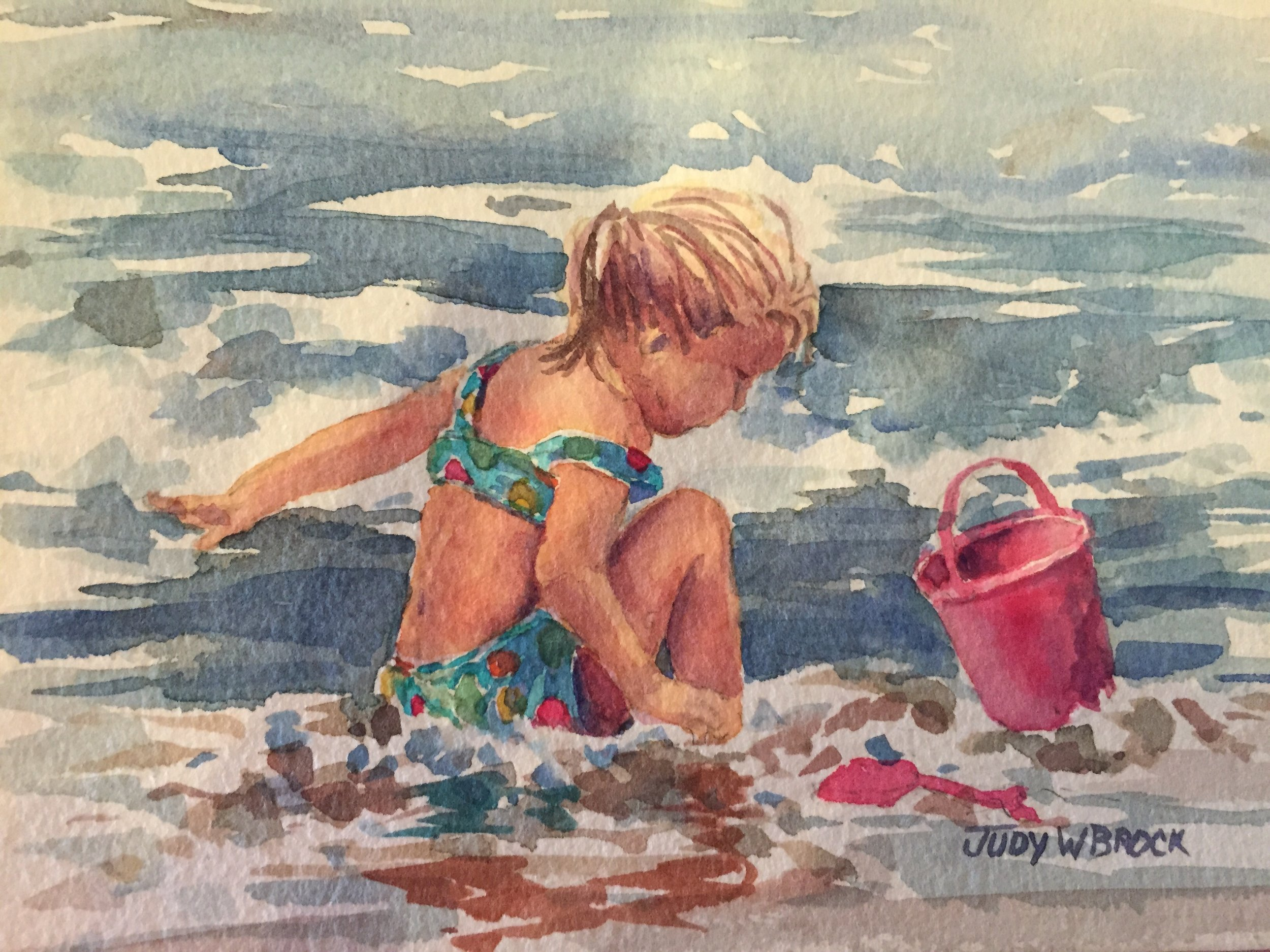 Surf Girl with a Red Bucket