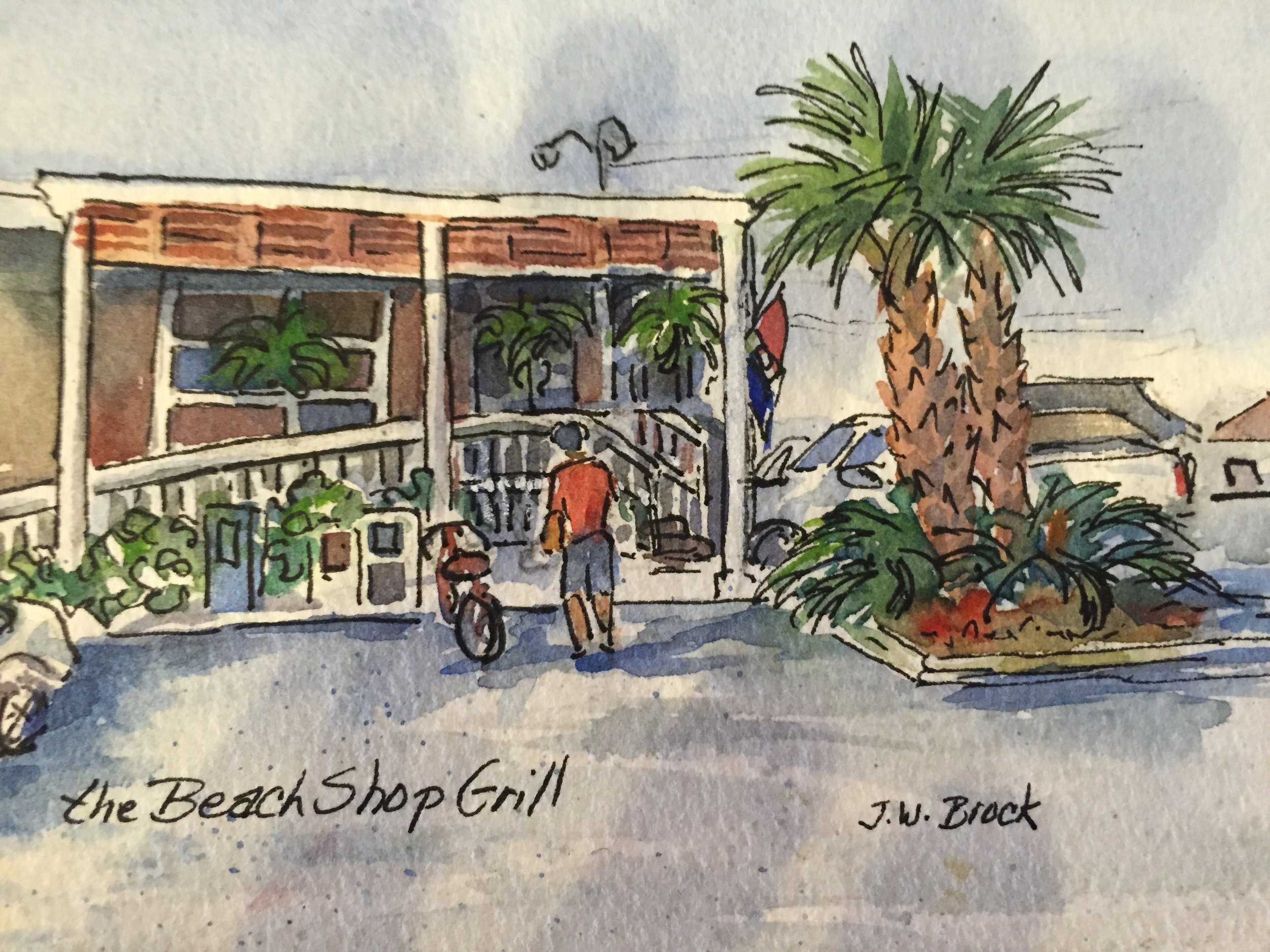 Beach Shop Grill- Ink and Watercolor
