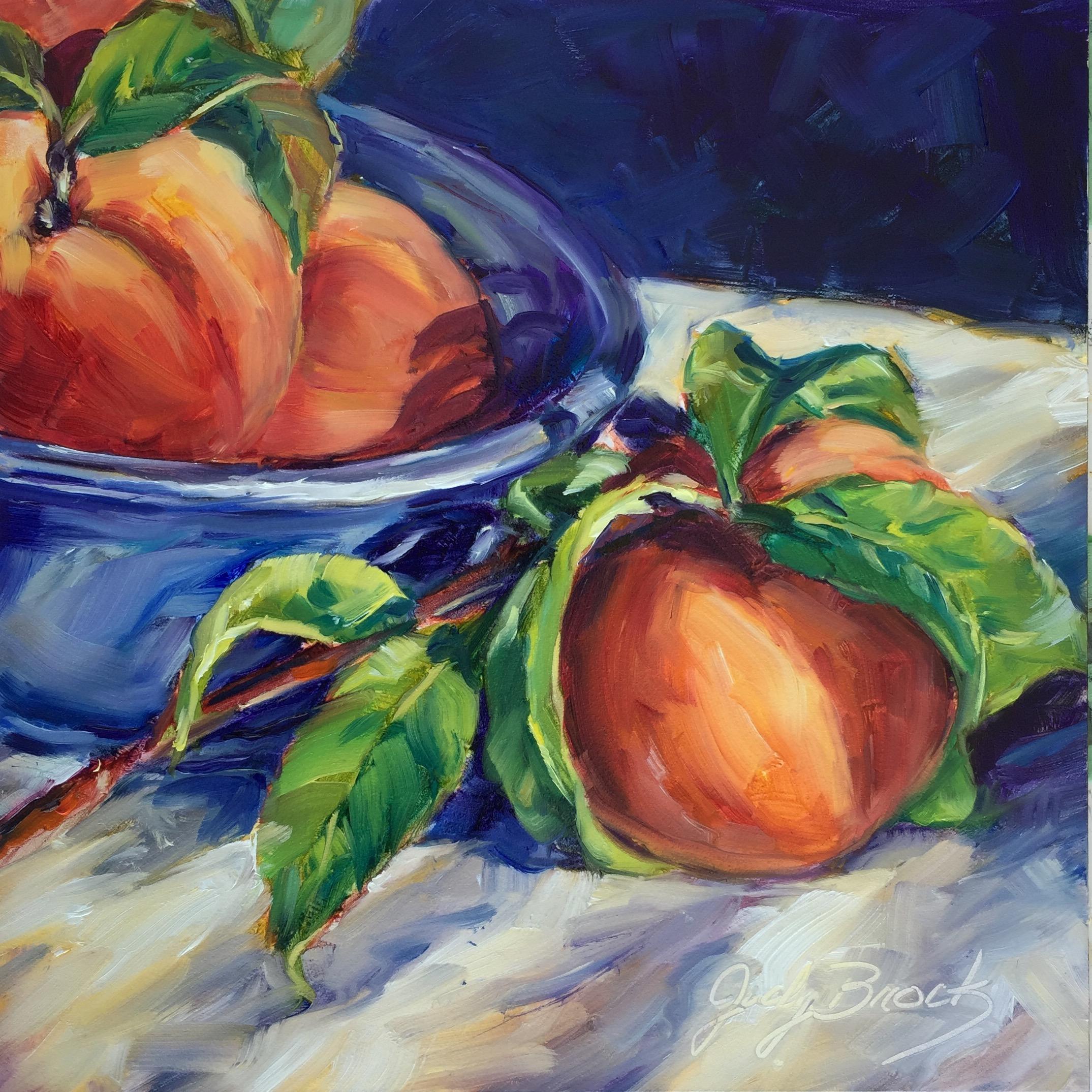 Peaches in a Blue Bowl