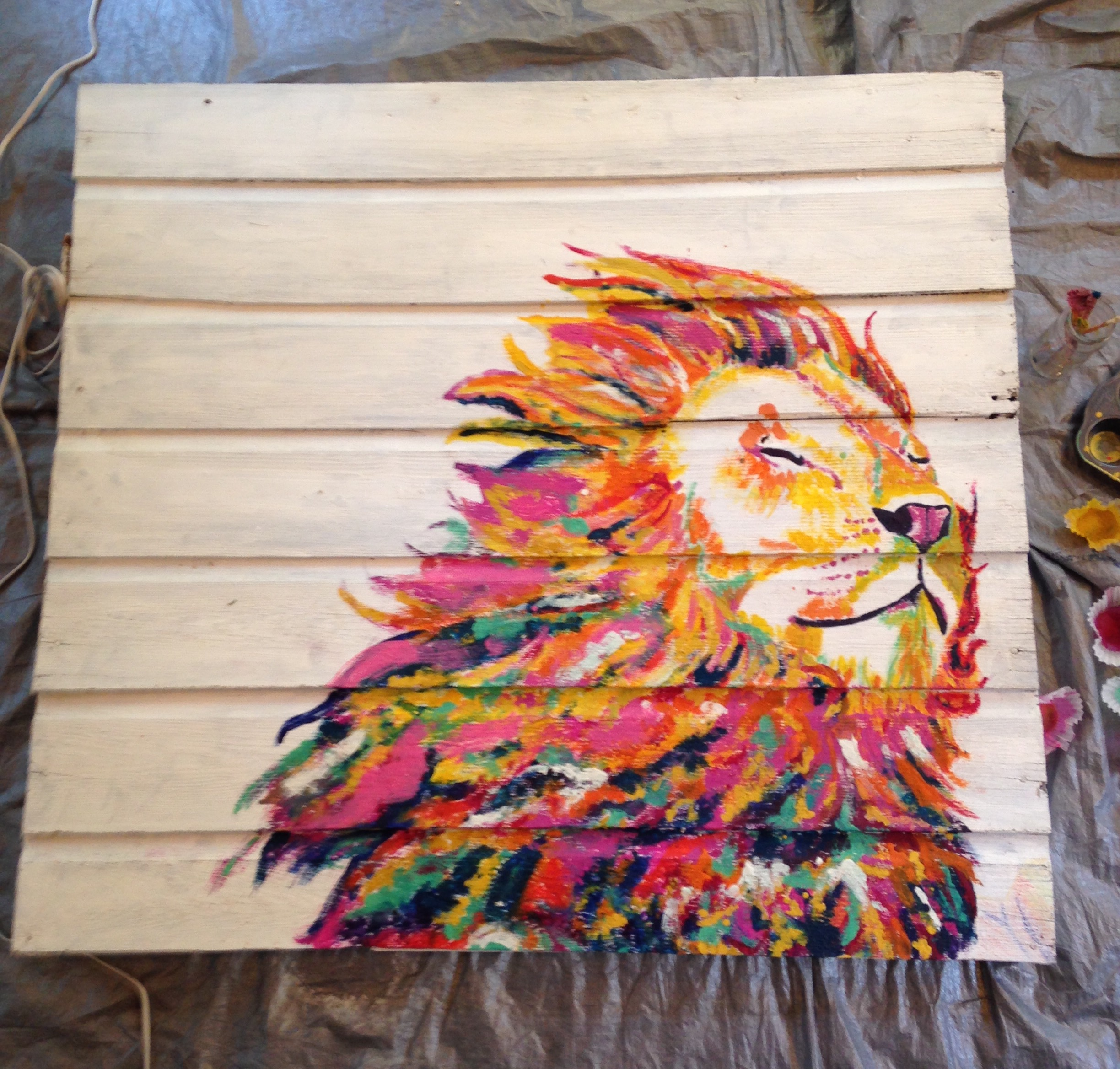 Work in progress: Laughing Lion Heart/4'x4'/Melted Crayon on Barn wood/2017