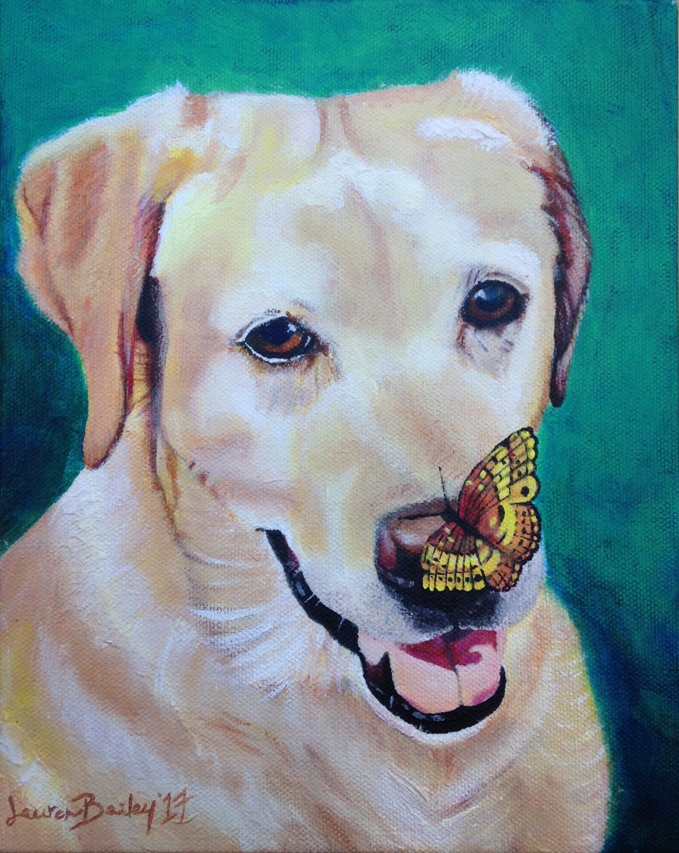 Yellow Lab & Butterfly