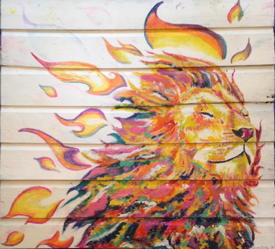 Laughing Lion Heart / 4'x4' / Melted Crayon on Salvaged Barn Wood / 2018