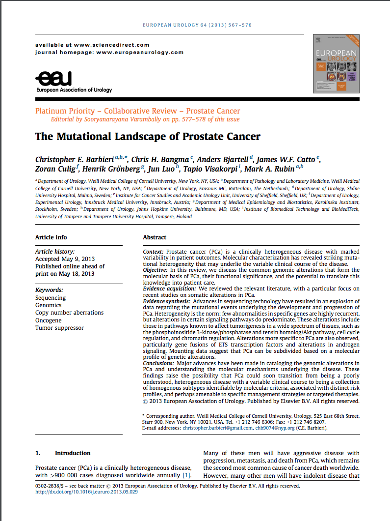 The mutational landscape of prostate cancer.png