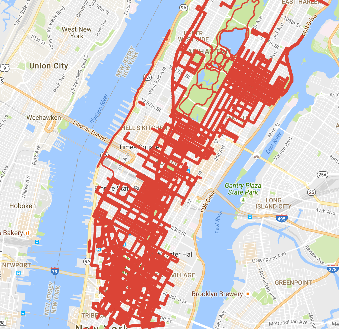 This map displays all the routes and places I walked during my two years of living in Manhattan. Click the map to interact