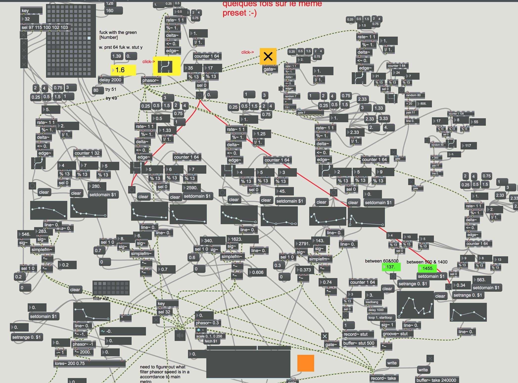Making a patch with Max, a visual programming language.