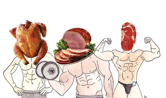 "Art by Lo Wall for Callie Zucker's piece ""Of Meat and Men."" Read Zucker's take on the toxic masculinity in meat-consumption in November's HEAT issue, available around the Colorado College campus and online at ciphermagazine.com"