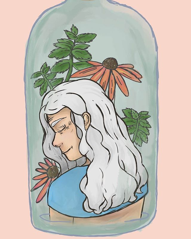 """Beautiful illustration by Caroline Li for Sophia Skelly's piece on an intergenerational friendship. Read Skelly's piece, """"Arms Outstretched"""" in the new Heat issue, now available online and around the CC campus, Poor Richards, and the Wild Goose!"""