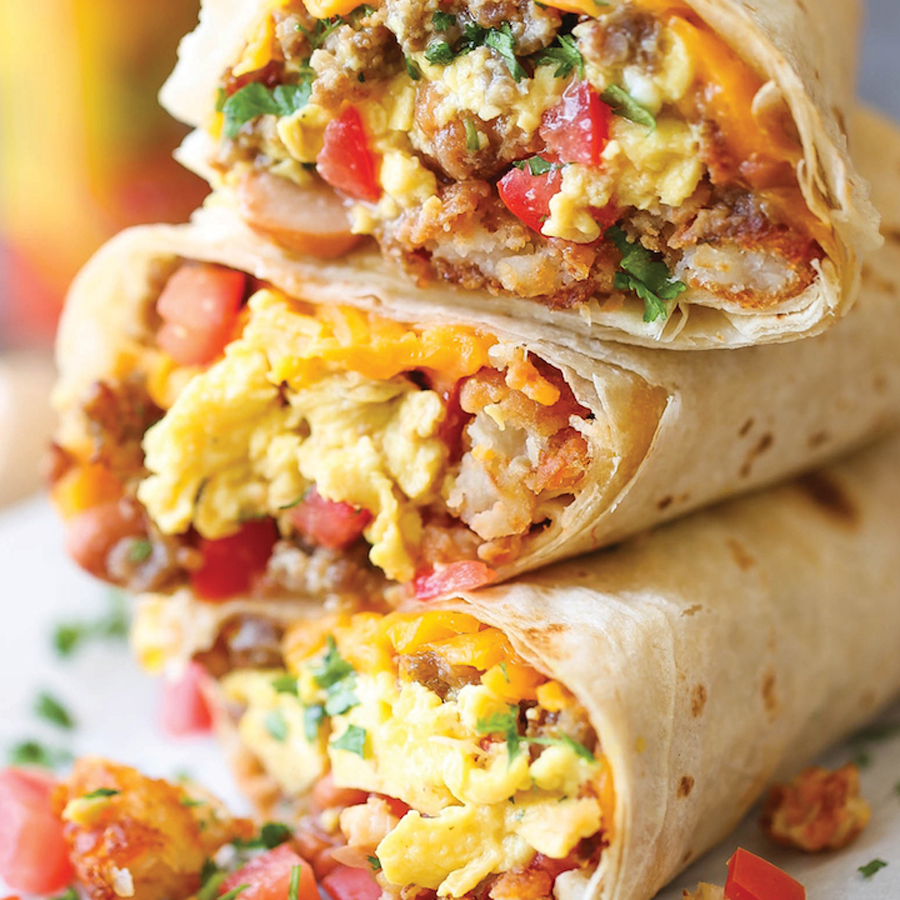 Freezer Breakfast Burritos-leave out tomatoes