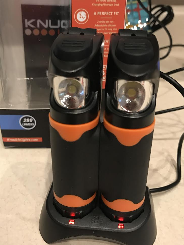 RECHARGEABLE!! Genius! After your run just place them back in the charger, where they'll charge up for your next run!
