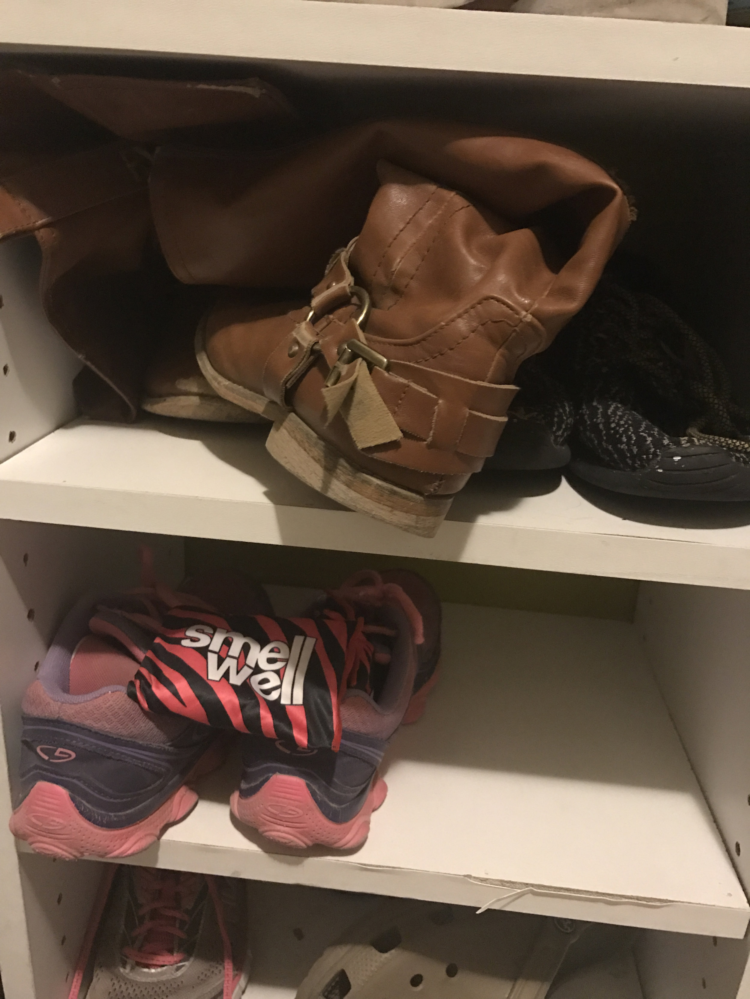 I snuck a few of these magical beanbags into my kids shoe cubbies. Disregard the disrepair of the shelves.... this is why we can't have nice things....
