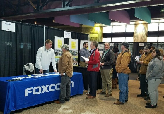 The public waits to speak with Foxconn representatives to learn about anticipated careers at the Wisconn Valley Construction Resource Fair.