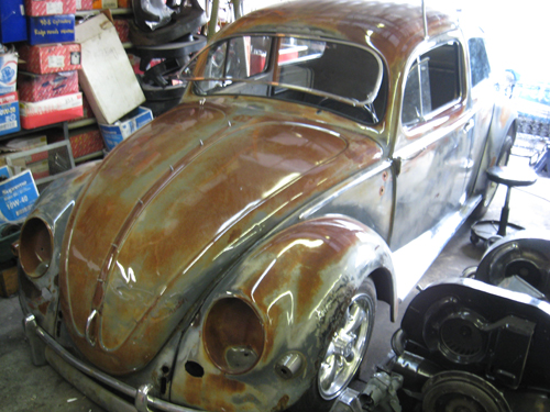 Here are the '56 Rusty Bug (Tetanus Bug) restoration pics. First, some of the uncompleted shots before she was on the road.