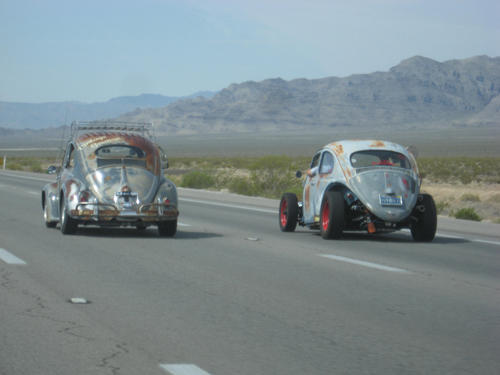 Along the way out of Vegas, we picked up a fellow freeway flyer. It turned out to be Shane of ClassicVDubs, a VW shop in Vegas, who happened to be on his way to the Classic as well.