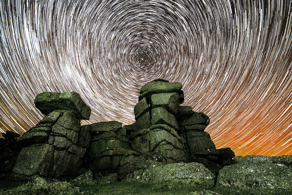 Star trails at Great Staple tor
