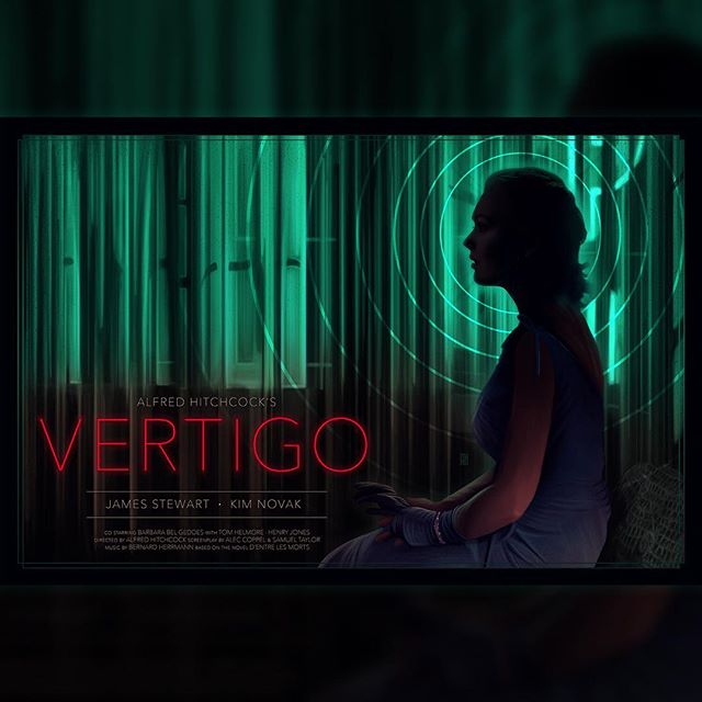 """Here's my original poster rendition of Alfred Hitchcock's iconic 1958 film """"VERTIGO"""". I wanted to depict one Hitchcock's most iconic scenes with a vivid contrast of color and emotion. Enjoy 👁 #vertigo #alfredhitchcock #illustration #digitalpainting #print #poster #digitalillustration #graphicdesign"""