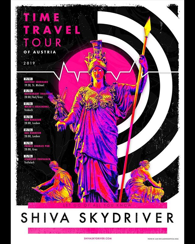 Here's a recent freelance project I worked on for @shivaskydriver upcoming Austria Tour. It was a fun task to finish the poster and translate the separations for screen-printed T-shirts. 🇦🇹 #illustration #posterdesign #graphicdesign #print