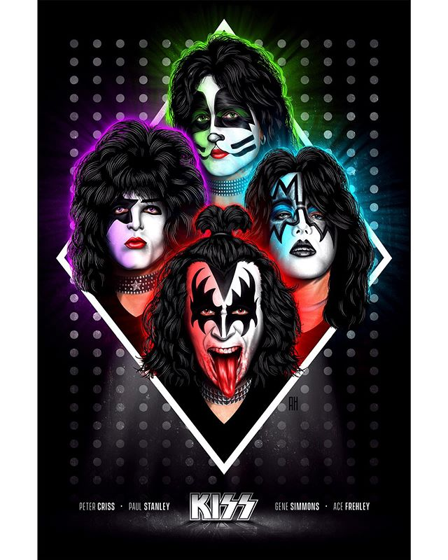 "KISS 💋 Here is my poster iconifying the original 1970s lineup of ""The hottest band in the world""... Enjoy 🔥 @kissonline #kiss #genesimmons #paulstanley #illustration #acefrehley #petercriss #digitalpainting"