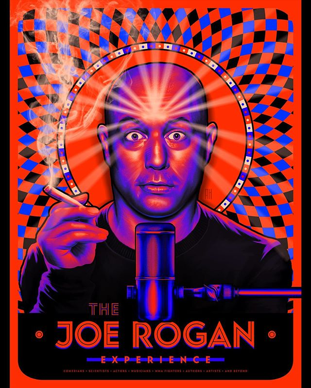 The Joe Rogan Experience 🎙 I wanted this poster to capture the essence of Joe Rogan as an individual and pronounce the enlightening concept of long-forum dialog. There hasn't been much more than a day that goes by where I don't tune into the fantastic conversations. Keep it up @joerogan 🙌🏻