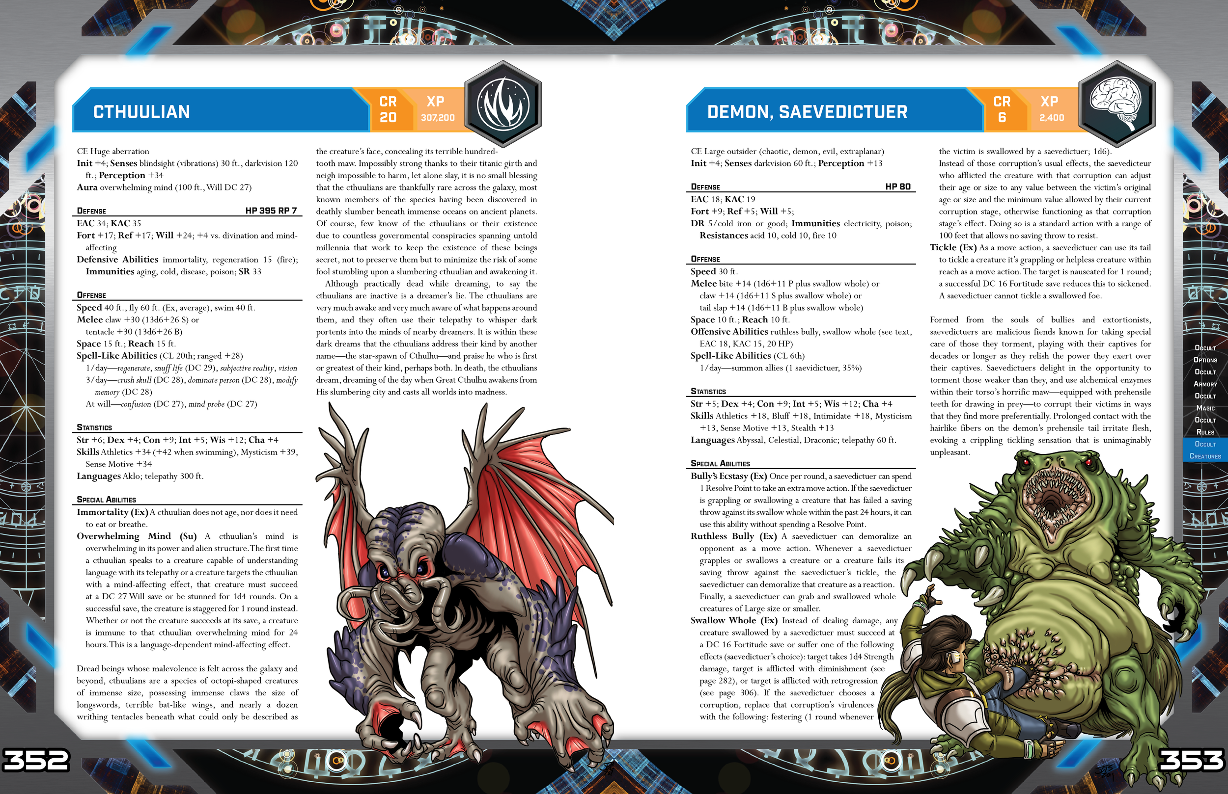 Descriptions for two new aliens, Cthulians and Savedictor Demons, are shown.
