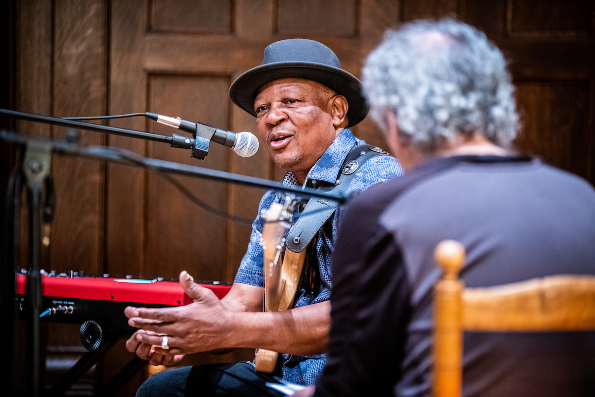 Bakithi Kumalo being interviewed by Michael Ryan