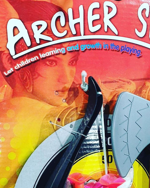 "Spotted in a discount store... a budget archery set. And a lovely message: ""Let children learning and growth in the playing."" Show beautiful a message, whatever that means. Tear... #writer #writingroutine #bookstagram #bookblogger #authorsofinstagram #author #writer #fictionwriting"