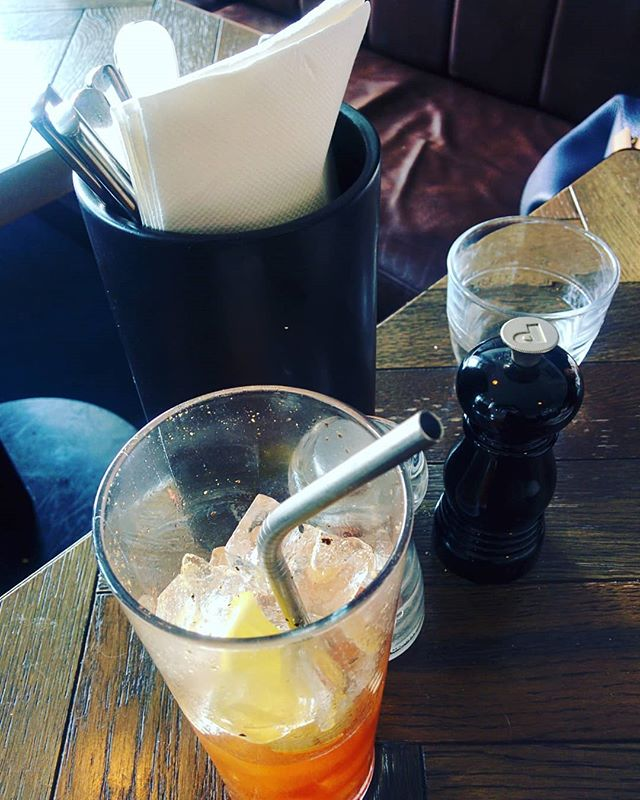 First time I've been served up a metal straw in my drink. Saving the planet with my Bloody Mary. . . . . . .  #writer #writingroutine #bookstagram #books #authorsofinstagram #bloodymary