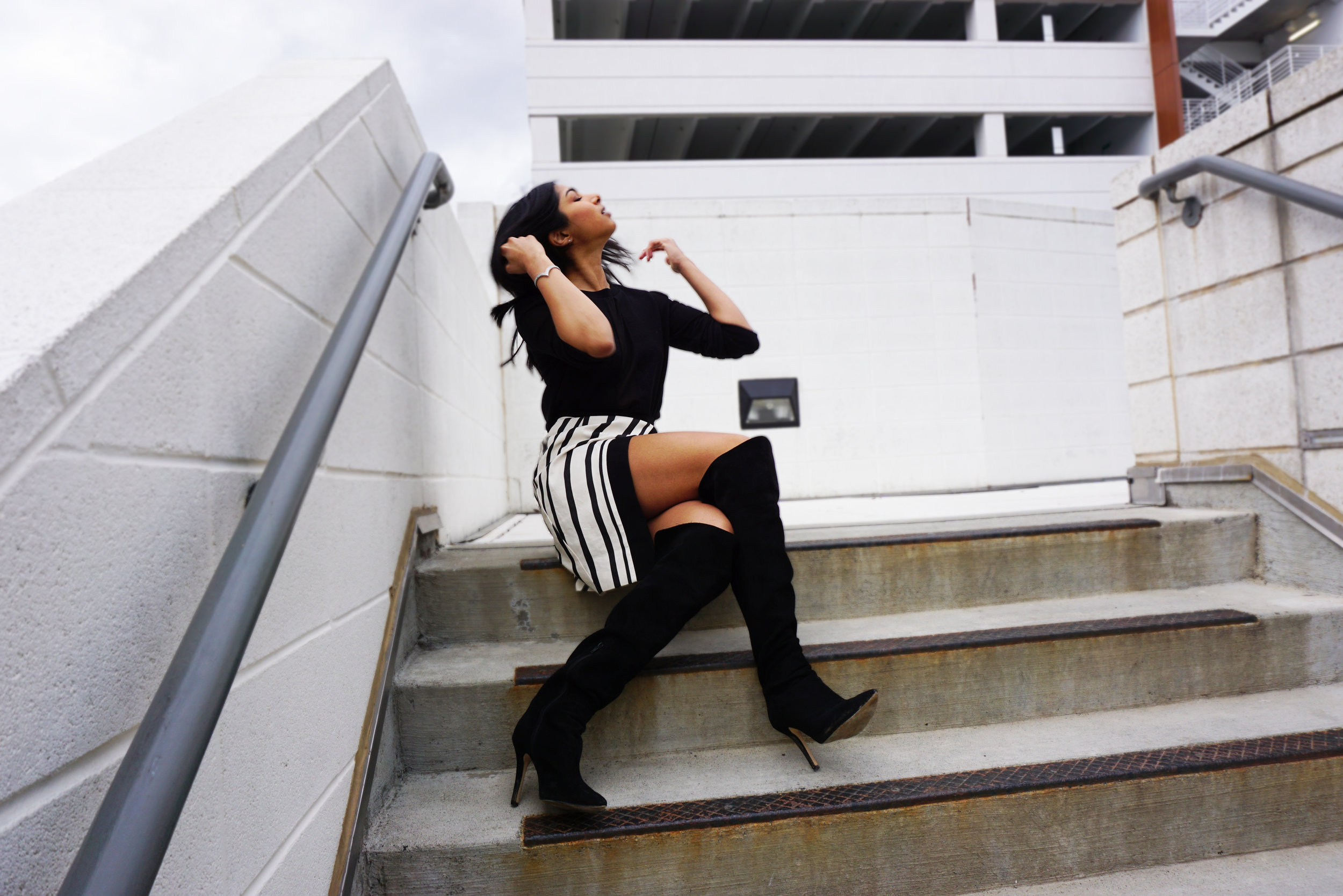 Top - Forever 21   Skirt - H&M   Boots - Kohl's   Bracelet - Jewel Mint