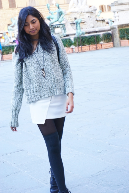 Sweater- ZARA  Skirt and jacket- H&M  Backpack and necklace- Forever 21  Shoes- Kohl's