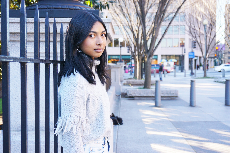 Sweater - aerie   Skirt - Nasty Gal   Jacket and handbag - H&M   Earrings - Jewel Mint