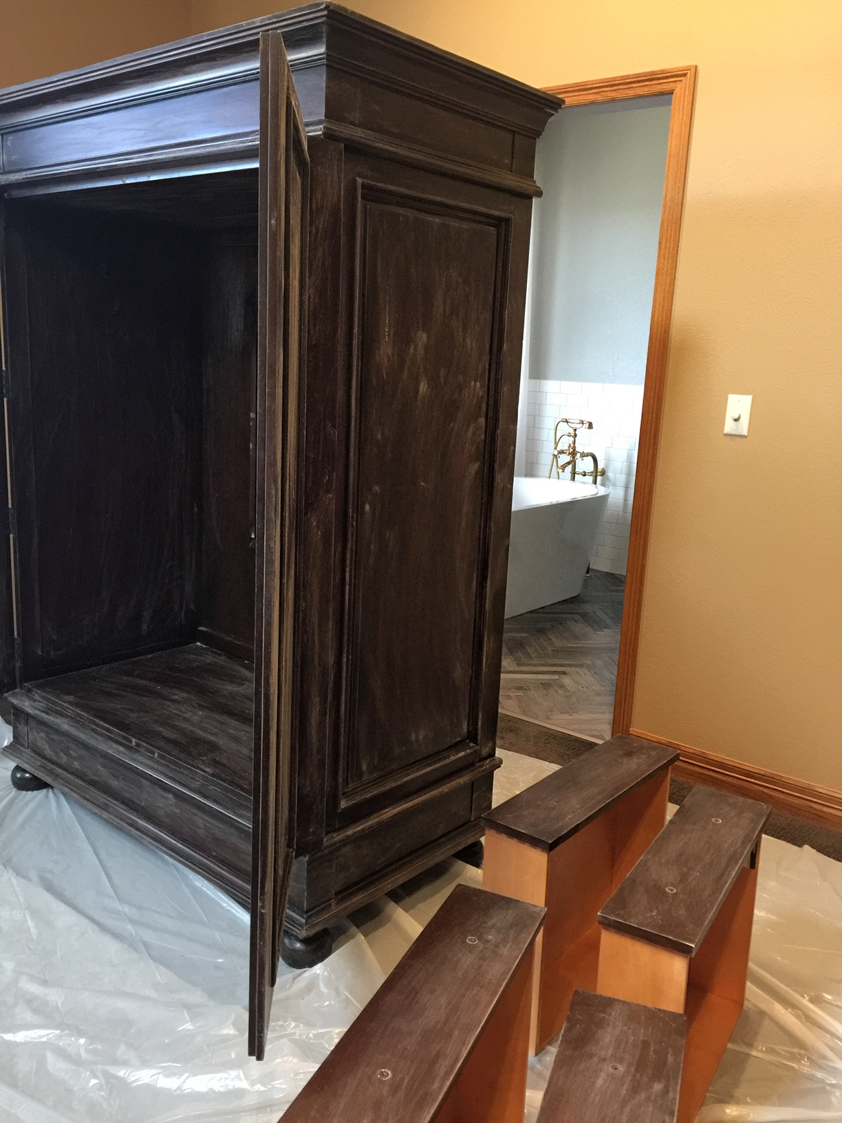 2) Lightly sand cabinet with a fine-grit sandpaper. - Just enough to rough the surface and give the paint something to grab hold of.