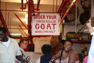 Captured at Haymarket, Boston's open air marketplace. Perhaps if I were a voodoo queen like Marie Laveau, this wouldn't faze me. Alas, I'm neither a queen nor voodoo—so I'm fazed. Quick question: if you order only half of a goat killed, the other half will grow back, right?