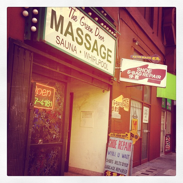 """""""Shoe repair while u wait"""" at a massage parlour. Is that code for: """"We also give footjobs""""?"""