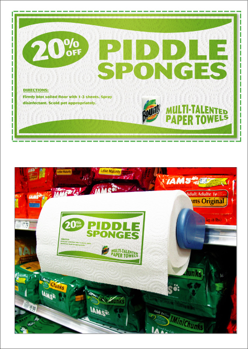 PIDDLE SPONGES - COPY:  DIRECTIONS: Firmly blot soiled floor with 1-3 sheets. Spray disinfectant. Scold pet appropriately.  Bounty / Multi-talented paper towels.
