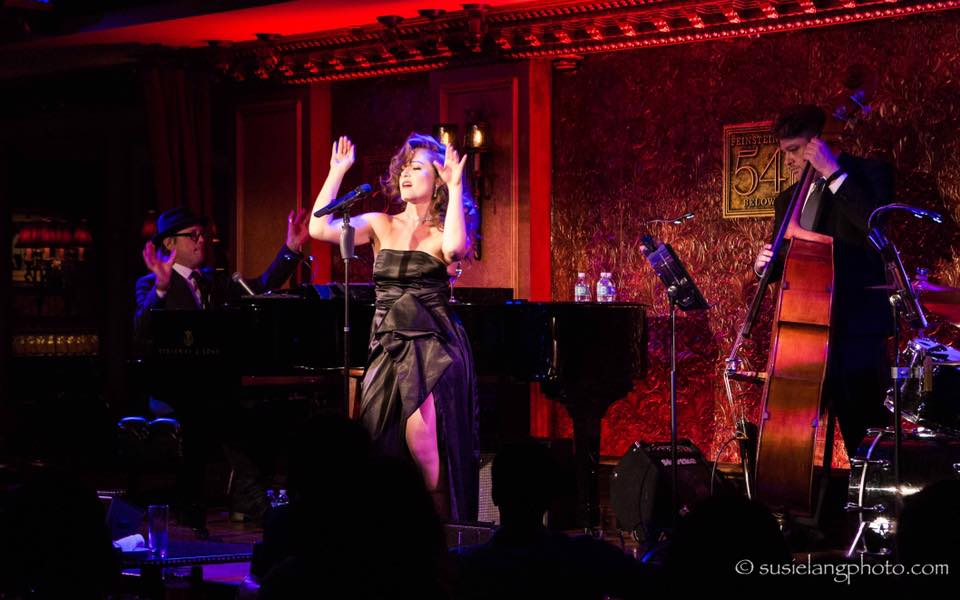 """Almog Pail as Rita Hayworth in """"Me, Myself and Rita,"""" now the full-length musical """"Love Goddess."""" 54 Below, New York City, April 2017. Book by Almog Pail, Music by Logan Medland, directed by Jay Stern."""