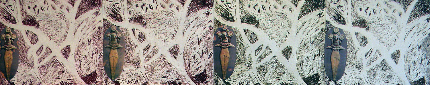 "Earth Goddess Whispers, photo etching/drypoint/chine-collé w/pigment prints, 8x40"" image"