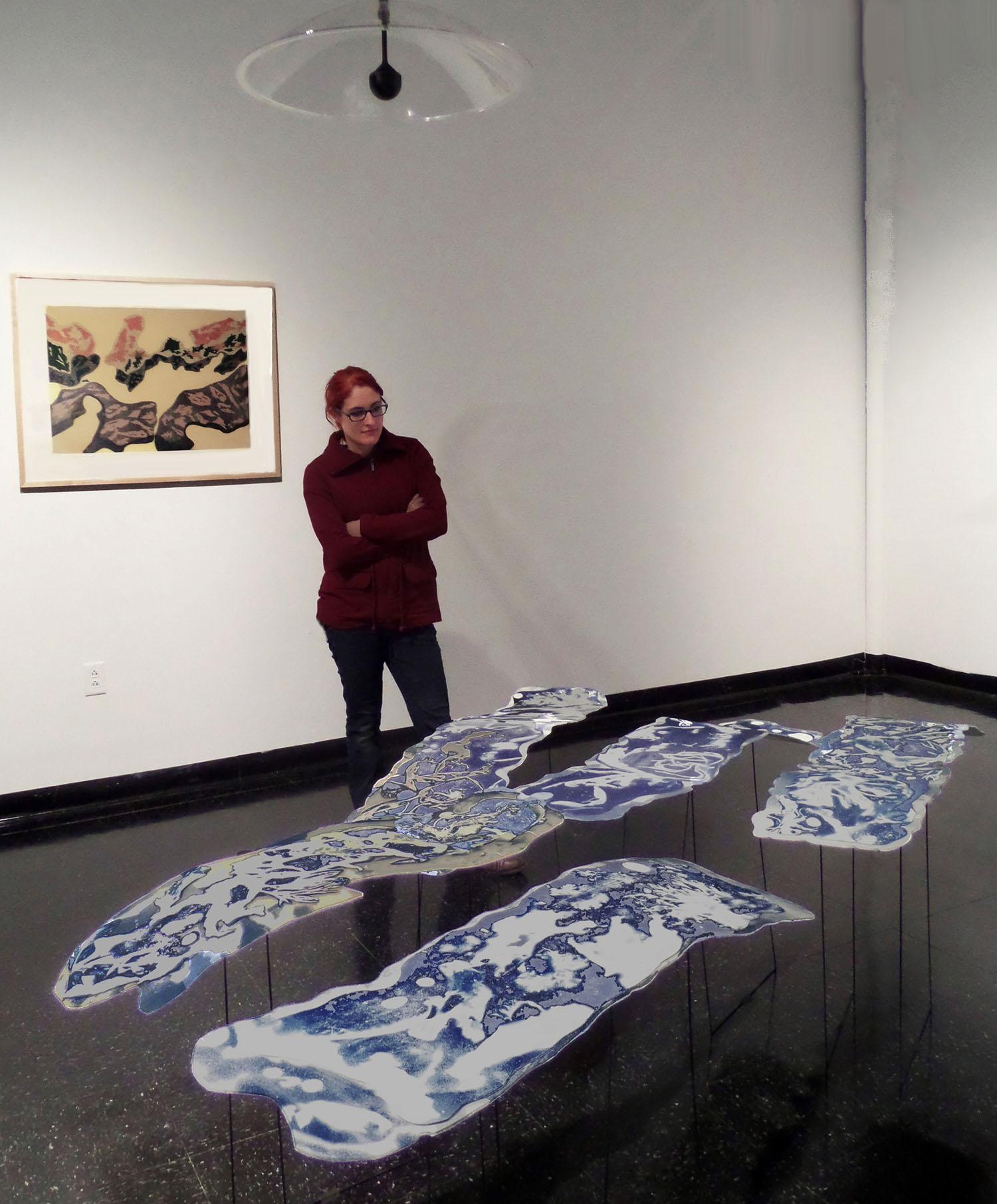 Thesis Exhibit, UMass Dartmouth, screen print + floating cyanotype sculptures