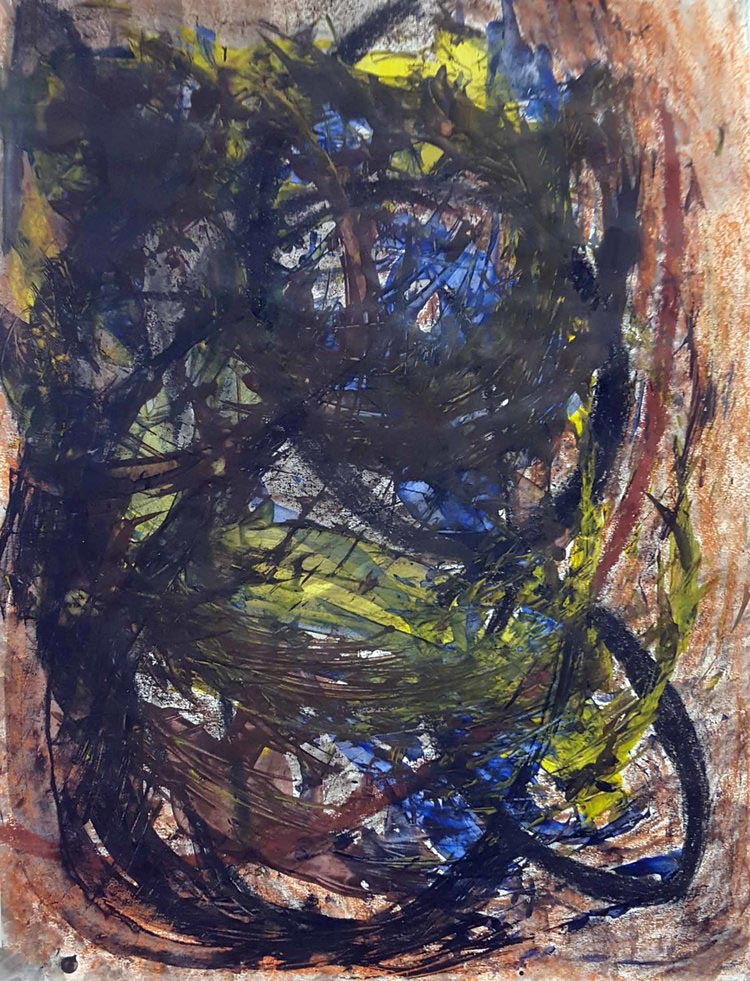 "Twirl Me, acrylic/mixed media on paper, 24x18"""