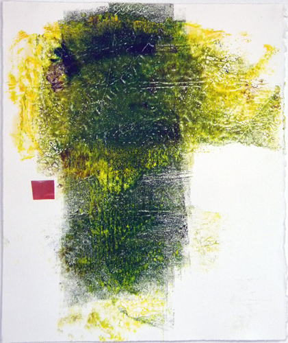 Glow Green, monotype w/collage, 12.25 x 10.25""