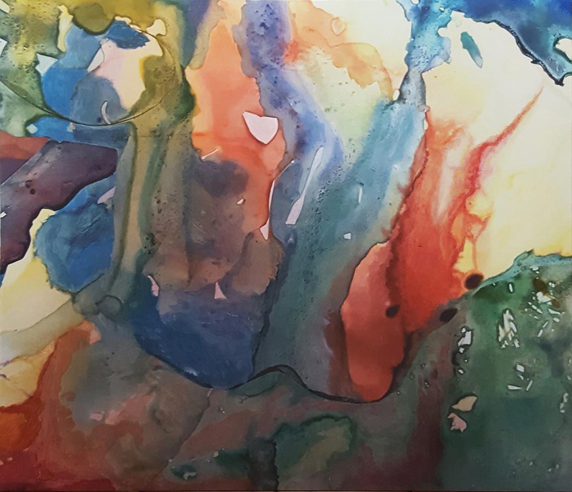 """Rainbow Stream, acrylic + ink on canvas, 30x34"""""""