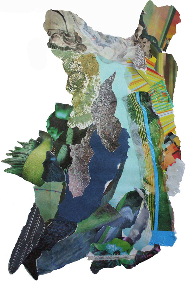"Wave Dress, 36 x 24 x.25"", collage/mm w/painted + printed materials, rubber, plastic, lace"
