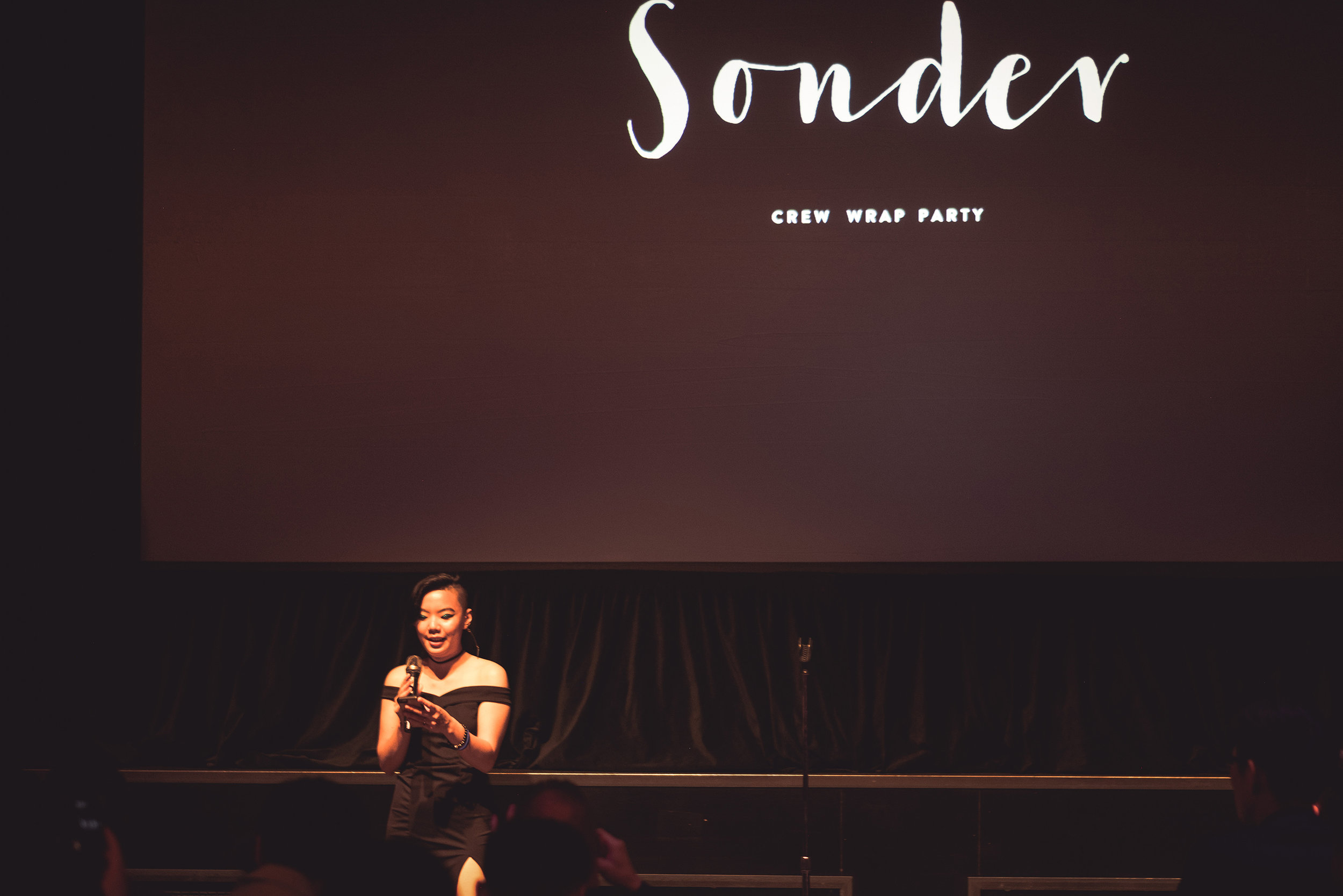 Andrea speaking at the  Sonder wrap party