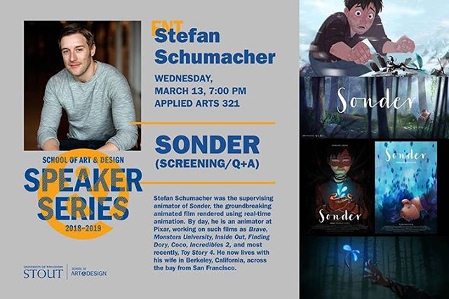 Hey Wisconsin! Next week, our supervising animator Stefan Schumacher will visit UW-Stout to screen 'Sonder' and discuss the making of the film. The event takes place on Weds. 3/13 at 7pm at the university's Applied Arts building, room 321. . #animation #shortfilm #UWStout @uwstoutpics