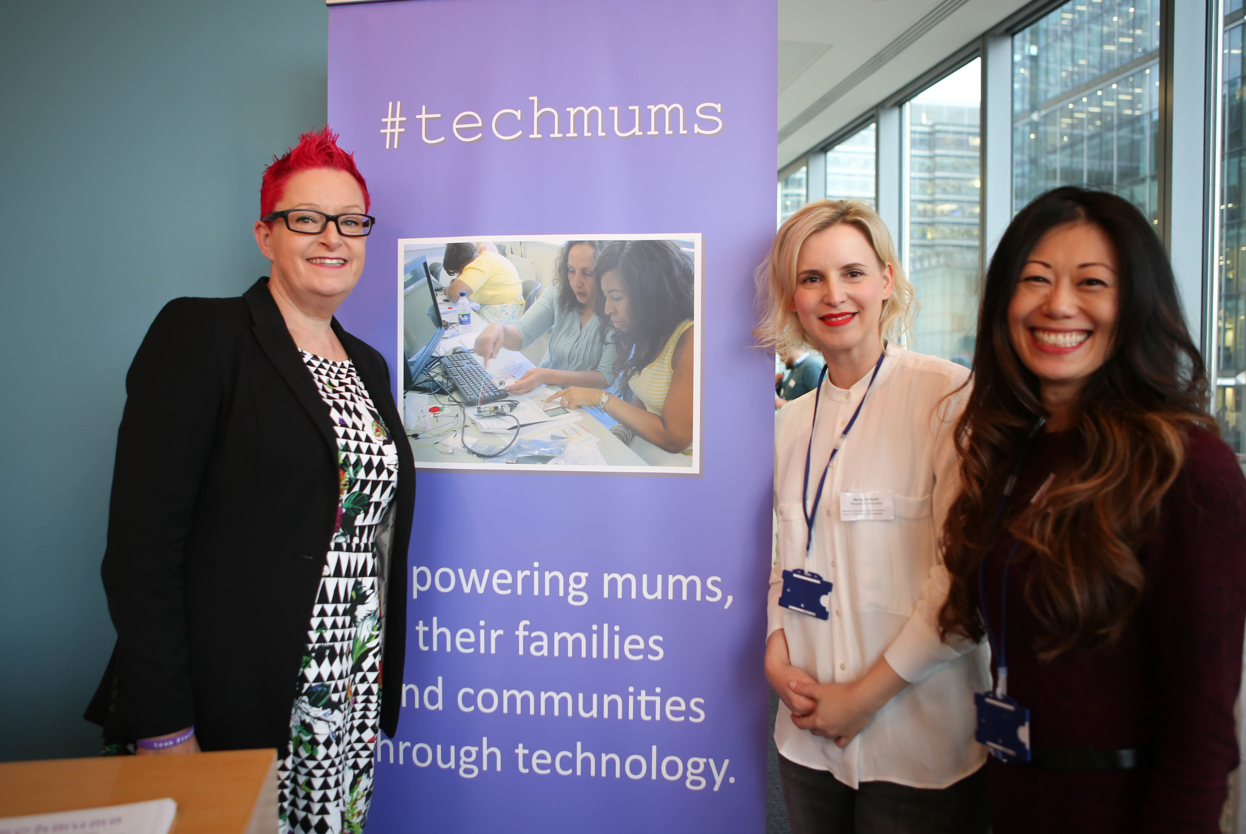 Michelle and Marija at WeAreTheCity conference 2016, with Dr Sue Black, founder of #TechMums